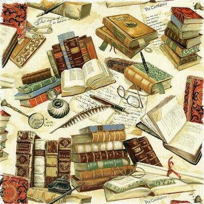 Nutex Vintage Victorian Books Library Cotton Quilting Sewing Fabric FAT QUARTER • 4.75£
