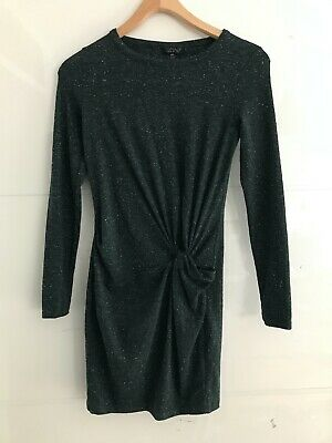 Topshop Green/black Speckled Casual Dress With Twist Detail - Size 6 • 5£