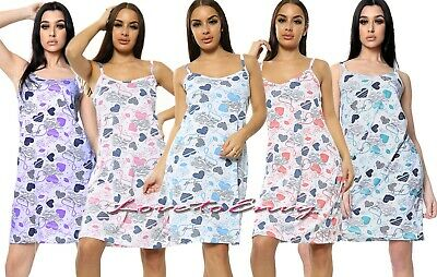Ladies Heart Pattern 100% COTTON Rich Strappy Night Dress Night Shirt Nightie • 8.95£