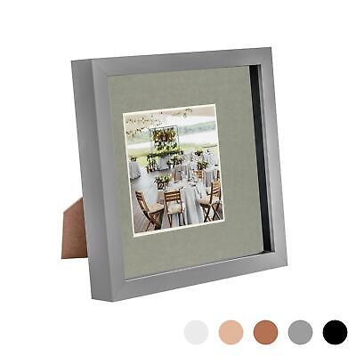 8 X 8 3D Box Frame Photo Picture Deep Display Shadow With 4 X 4 Mount Grey/Grey • 6.99£