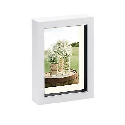 5 X 7 3D Box Frame Photo Picture Deep Display Shadow 4 X 6 Mount White/Ivory • 4.99£