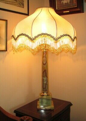 Large Vintage Pale Green / Brown Marble Gilt Metal Corinthian Column Lamp Base • 195£