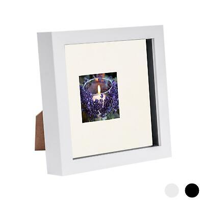 6 X 6 3D Box Frame Photo Picture Deep Display & 2 X 2 Mount White/Ivory • 4.99£