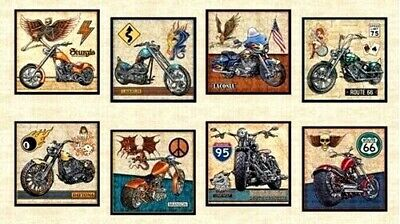 Motorbike Fabric Cotton Craft Quilting Large Panel 44 X 24  Easy Rider • 15.99£