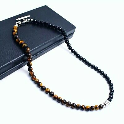 Natural Black Onyx And Tigers Eye Gemstone 6mm Beads Men's Necklace 18  UK • 9.90£