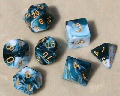 AU11.95 • Buy Dice Set 7 Piece Polyhedral D & D Pathfinder Dungeons & Dragons RPG Blue Ink DnD