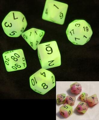 AU10.98 • Buy Dice 7 Pce Set D & D Polyhedral Glow In The Dark Dungeons & Dragons Pathfinder