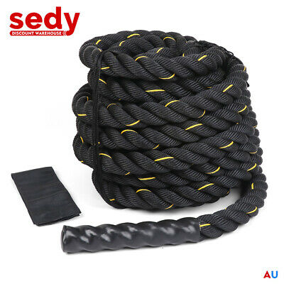 AU94.95 • Buy 9m-12m-15m Battle Rope 38mm Home Gym Strength Exercise Bootcamp Waves MMA UFC