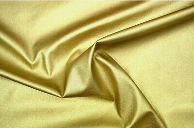 Gold STRETCH Faux Leather Look Soft PVC Leathercloth Fabric Leatherette  Per Mt • 9.70£