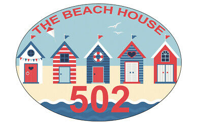 Personalised Metal Street Signs House Numbers Circular House Signs Beach Huts   • 10.99£