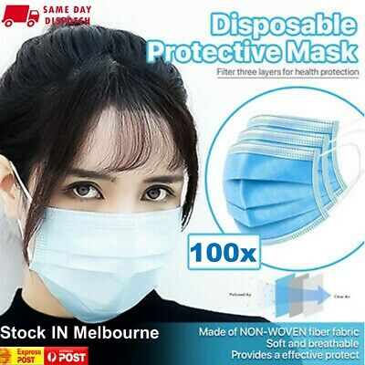 AU16.87 • Buy Disposable Face Mask Protective Mouth Masks Anti Bacterial 3 Layer Filter 100PCS