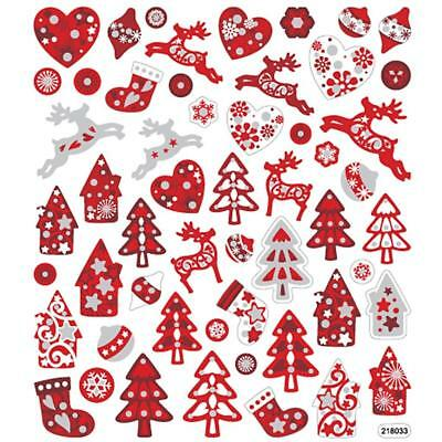 Fancy Self Adhesive Metal Red White Christmas Stickers Sheet For Card Decoration • 1.99£