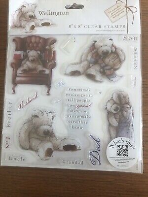"""Teddy Bear Clear Rubber Stamps For Men.  Wellington From DoCrafts. 8x8"""" Set. New • 8.90£"""