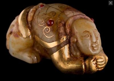 £949 • Buy An Unusual Chinese Gold Mounted Jade Crouching Hotei With Red Cabochons Stones