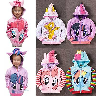 Kid Girl My Little Pony Winter Hoodie Wings Jacket Twilight Rainbow Dash Sweater • 11.49£