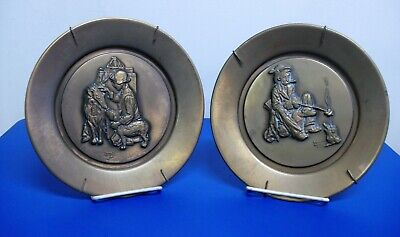 """$ CDN19.93 • Buy 2 Norman Rockwell Copper Collector Plates Hobo Making Friends 8"""" Lot Wall Hanger"""