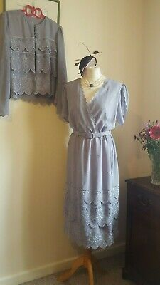 Vintage Floral Tea Dress And Jacket Size 12 14 Scalloped Tiered Layered Formal  • 30£