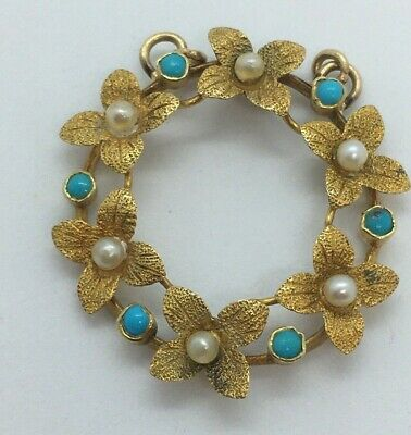 Antique / Vintage Edwardian 15ct Gold Turquoise And Seed Pearl Floral Pendant • 146£