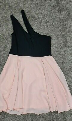 AU15 • Buy New - Asos One Shoulder Skater Dress With Chiffon Skirt. Pink Black - Size 14