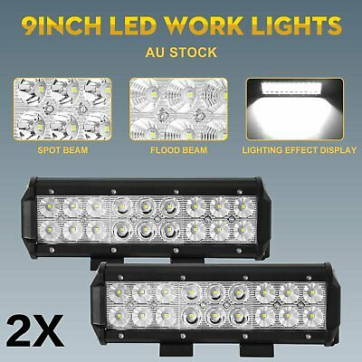 AU43.99 • Buy 2x 9inch CREE LED Light Bar Spot Flood Combo OffRoad 4WD Work Driving Lamp 10