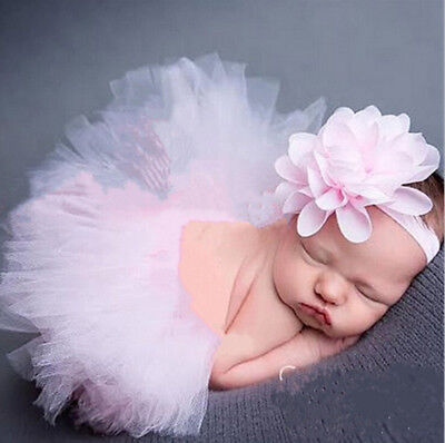 Newborn Baby Kid Girl Flower Headband  Tutu Skirt Photography Costume Prop^New • 5.32£