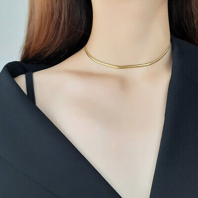 Bohemia Gold Women Clavicle Choker Flat Snake Wedding Chain Link Stainless Steel • 4.29£