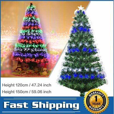 5ft 4ft Christmas Trees Collapsible Fiber Optic Artificial Xmas Tree Stand Decor • 30.89£
