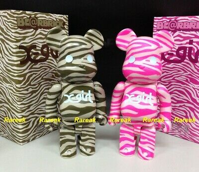 $389.99 • Buy Medicom Be@rbrick 2009 X-girl Zebra Pink & Charcoal 400% Xgirl Bearbrick Set 2pc