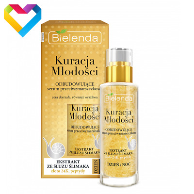 Bielenda Rebulding Anti Wrinkle Face Serum With Snail Slime Extract And 24K Gold • 9.80£