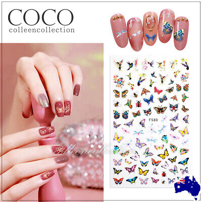 AU4.99 • Buy New 3D Nail Decor Decal Stickers Nail Art Accessories AU STOCK Design Butterfly
