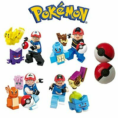 Pokemon Minifigures With Trainer And Pokeballs Fits Lego • 5.99£