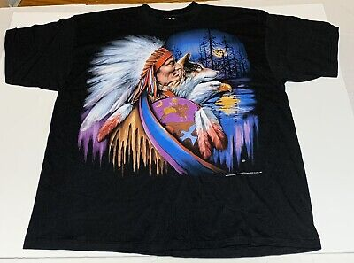 $ CDN134.01 • Buy Vtg 3D Emblem T Shirt Sturgis 1994 Mens XXL Native American Eagle Wolf