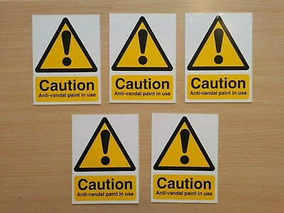 5x Caution Anti-vandal Paint Signs Rigid Plastic 150x200mm • 7£