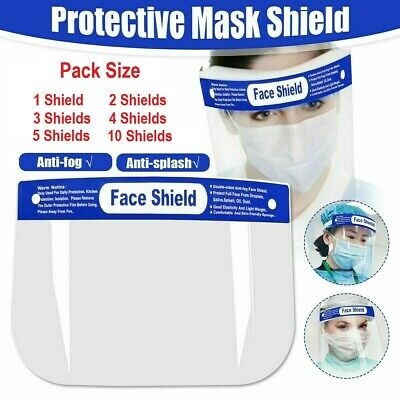 Face Shield Full Face Visor Protection Mask PPE Shield Clear Transparent Plastic • 5.49£