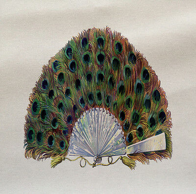 Peacock Feather Fan Printed On Fabric Panel Make A Cushion Upholstery Craft • 5.50£