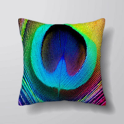 Peacock Feather Printed Cushion Covers Pillow Cases Home Decor Or Inner • 20£