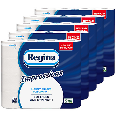 Regina Impressions 3Ply Soft Quilted Toilet Roll Tissue Paper BULK, 80 Rolls • 29.99£