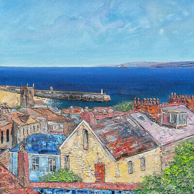 Original Art -  Over The Rooftops St Ives Bay  Cornwall Cornish Painting • 130£