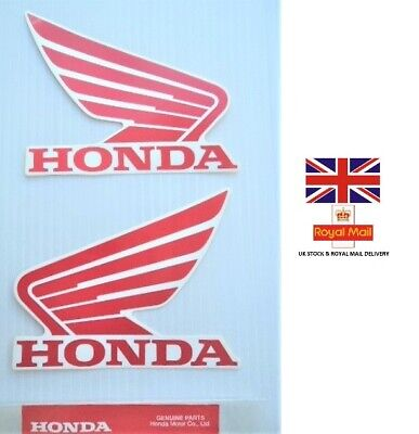 £8.95 • Buy GENUINE HONDA TANK WINGS STICKER DECAL STICKERS RED / WHITE 93mm X 75mm