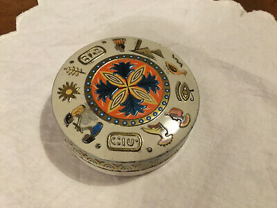 Vintage 1950s Baret Ware Round Sweet Tin Embossed Egyptian Figures & Symbols • 1.99£