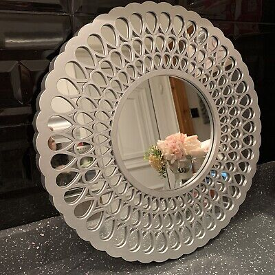 39cm Silver Round Wall Mirror Metallic Look Silver Art Deco Bathroom Wall Mirror • 16.99£