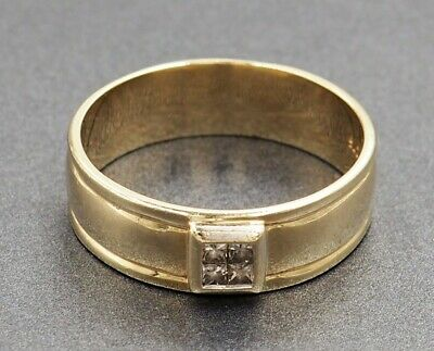 AU1000 • Buy Diamond Mens Ring 9ct Yellow Gold Tuscany Style Ring Fine Jewellery Band Size Z