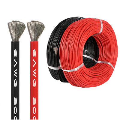 AU40.60 • Buy 1m-10m Flexible Silicone Wire Cable 16AWG 10AWG 6AWG Black/Red Super Soft AU