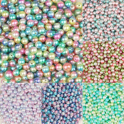 £1.49 • Buy ❤ Ombre ACRYLIC ROUND PEARLY 4mm - 10mm Jewellery Making Spacer Beads  ❤