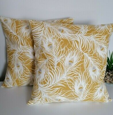 16  Cushion Cover Clarke & Clarke Peacock Feather Ochre Grey White • 5.99£