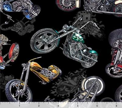 $6.25 • Buy Easy Rider Motorcycle Fabric 100% Quilters Cotton Skull Dice Pinup Girl