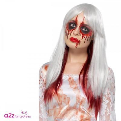 Ladies Blood Drip Ombre Wig Adult Halloween Zombie Bride Fancy Dress Accessory • 9.99£
