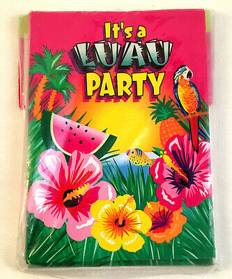 Vintage It's A Luau Party Invitations 8 Invites W/ Envelopes Unique Hawaii Tiki • 3.50£