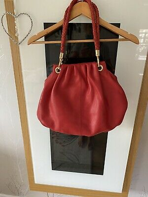 Jane Shilton Bag Tomato / Orange Pebbled Leather Gold Hardware New • 10£