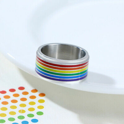 Men's Rainbow Color Ring Pride Gay Rotary Spinning Spinner Stainless Steel Gift • 3.99£